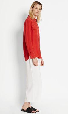d149f86461b16 SLIM SIGNATURE SILK SHIRT    aurora red Red Fashion