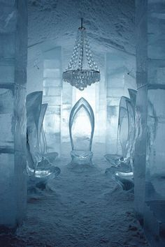 ice hotel in Jukkasjarvi, Sweden; ice chairs