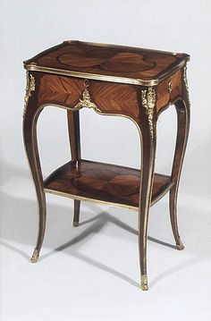 Small oblong table Antoine-Mathieu Criaerd, ca. 1755–60, French, Paris, Oak veneered with tulipwood and amaranth, gilt bronze, leather
