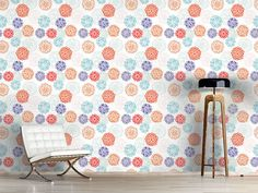 Design #Tapete Zinnien Fantasie Flora, Delicate, Curtains, Shower, Prints, Design, Self Adhesive Wallpaper, Imagination, Wall Papers
