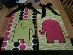 Baby Girl Elephants Paniting Room | Baby Girls Room Elephant Painting...maybe izzys next room | For Iz