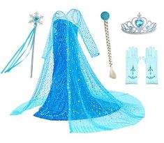 Luxury Princess Dress Costumes with Shining Long Cap Girls Birthday Party Years Shoes-Jewelry Sets Shoes-Jewelry Shoes-Jewelry Most Popular Halloween Costumes, Halloween Costumes For Girls, Cool Costumes, Frozen Themed Birthday Party, Birthday Party Themes, Girl Birthday, Cap Girl, Frozen Costume, Elsa Dress