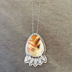 Montana agate feather necklace statement necklace unique by prox