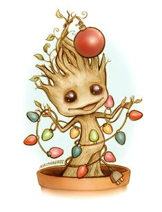 Have Yourself a Very Merry Grootmas <<< *unnatural squeal* OMG CHRISTMAS GROOT WITH WITTLE WIGHTS AND A WITTLE ORNAMENT OMG :3 -Royale