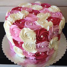 Multi-colored rosette cake www.hapacupcakes.com