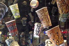 Artist, Gwenyth Leech, spends hours painting on coffee mugs