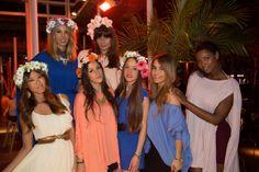#Springparty en Nuba Barcelona: nuestra diseñadora Rebeca Fueyo con Alexia de AJM Design (diademas florales) y el equipo de Nuba.