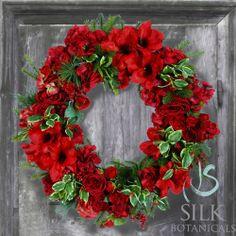 Jane Seymour Botanicals Amaryllis Holly Wreath