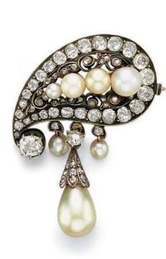 Pearl and Diamond Brooch c. 1880 Christie's