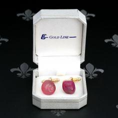 GOLD LINE Vintage Gents or Lady Cufflinks Dark Pink Natural Stones Original Box