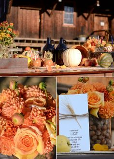 Fall Wedding Decorations - no wheat, the chestnuts are interesting I didn't think of them. also yum chestnuts!