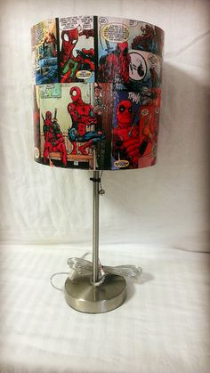 Spiderman and Deadpool Custom Comic Book Lamp by AWhimsicalHoot, $70.00-we could do this!