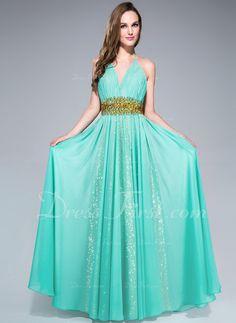 Corte A/Princesa Cabestro Vestido Chifón con Volantes Bordado Lentejuelas (asi! pero irregular y otro color)