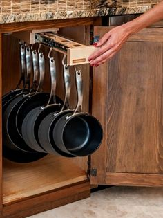 Kitchen Pots And Pans Storage Solutions Awesome storage idea for pots and pans in the kitchen.Awesome storage idea for pots and pans in the kitchen. Clever Kitchen Storage, Kitchen Organization, Organization Ideas, Clever Kitchen Ideas, Kitchen Ideas For Storage, Clever Storage Ideas, Organizing Kitchen Cabinets, Kitchen Organizers, Kitchen Storage Solutions