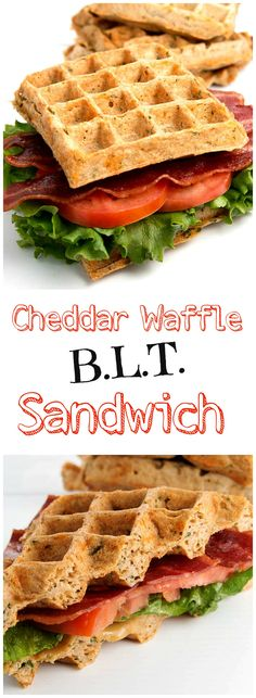 Cheddar Waffle BLT Sandwiches are a delicious and fun way to eat a sandwich.  The waffle is packed with cheddar cheese and herbs and makes your whole wheat bread a thing of the past.