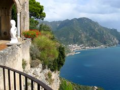 Minori, Italy, Amalfi Coast as seen from Villa Cimbrone in Ravello.