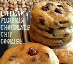 CHEWY Pumpkin Chocolate Chip Cookies~ I love the combination of pumpkin and chocolate. These cookies deliver! They stay nice and moist and chewy. I love soft cookies. Easy to make and easy to eat! Pumpkin Recipes, Cookie Recipes, Dessert Recipes, Dessert Ideas, Fall Recipes, Pumpkin Pumpkin, Cake Ideas, Yummy Recipes, Just Desserts