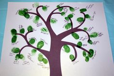 """Just to show where people leave names with thumbprint....love this idea for baby shower guest to """"leaf"""" their names"""