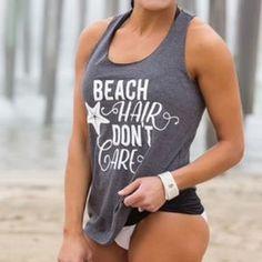 beach hair tank top