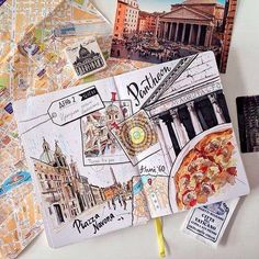 Travel Diary Ideas Travelers Notebook Drawings Ideas – Travel Journal – Diary - New Site Voyage Sketchbook, Travel Sketchbook, Arte Sketchbook, Sketchbook Inspiration, Journal Inspiration, Travel Inspiration, Travel Ideas, Travel Tips, Notebook Drawing