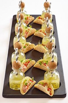 Fun Menu Innovations for Your Reception Trending: stylish mini appetizer and drink pairings, like these mini Patron margaritas with taco bites.Trending: stylish mini appetizer and drink pairings, like these mini Patron margaritas with taco bites. Mini Appetizers, Wedding Appetizers, Appetizer Recipes, Wedding Canapes, Shot Glass Appetizers, Dinner Party Appetizers, Shower Appetizers, Dinner Parties, Mini Aperitivos