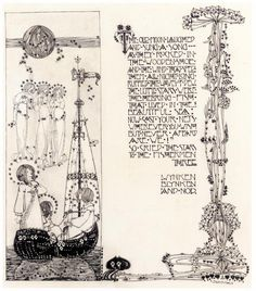 """signed l.r.: <EM>JESSIE. M. KING</EM><br><br>pen and ink over pencil on paper<br><br>CATALOGUE NOTE</strong><br><br><EM>The old man laughed/ and sung a song;<br>As they rocked in / the wooded shoe / and the wind that sped / them all night long<br>Ruffled the waves of dew.<br>The little stars were / the herring-fish<br>That lived in the / beautiful sea:<br>Now cast your nets / wherever you wish<br>But never afraid / are we!""""<br>So cried the stars / to the fishermen…"""