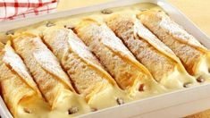 Gebackene Vanillecreme-Crêpes - German dessert recipe at its finest – Baked Vanilla Cream Crepes *** German Desser Recipe at its - Cake Recipes Without Oven, Cake Recipes From Scratch, Easy Cake Recipes, Sweet Recipes, Dessert Recipes, Crepes, Easy Vanilla Cake Recipe, German Desserts, Breakfast Desayunos