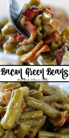 dinner side dishes Bacon Green Beans are a delicious side dish recipe loaded with crispy bacon, onions and seasoning. Side Dishes For Salmon, Dinner Side Dishes, Thanksgiving Side Dishes, Side Dishes Easy, Vegetable Side Dishes, Thanksgiving 2020, Veggie Recipes Sides, Thanksgiving Vegetables, Vegetarian Food