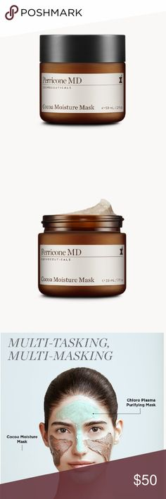 Perricone MD Cocoa Moisture Mask 2 fl oz Perricone MD Cocoa Moisture Mask  Brand New! In box!   Size: 2 fl oz  Quantity: 2 available   ** Powerful results in a guilt-free, indulgent mask. Infused with Cocoa-Enriched Microcapsules, which transform from off-white to deep brown during application, Perricone MD's new mask provides an intense boost of hydration so that skin immediately looks and feels firmer, radiant and renewed. **  ♥ ♥ ♥ ♥ ♥ ♥ ♥ ♥ ♥ ♥ Perricone MD Makeup