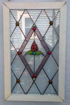Stained glass door panel decorative window film remodel stained glass window panel red flower diamond pattern planetlyrics Images