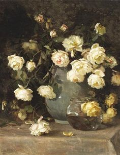 white roses in a vase painted by Edith White