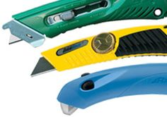 Diverse selection of quickblade, safety grip, standard and Safety cutter Knives.