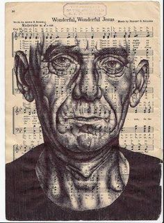 Mark Powell, Speaking in Tongues (Prattle). Bic biro drawing on music sheet, © Mark Powell Biro Portrait, Biro Drawing, Biro Art, Painting & Drawing, Mark Powell, Gcse Art Sketchbook, A Level Art, Meet The Artist, Detail Art