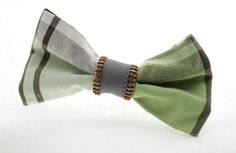 Handmade Upcycled Green and Grey Plaid Bow Tie Pin by Scrapcycling, $10.00