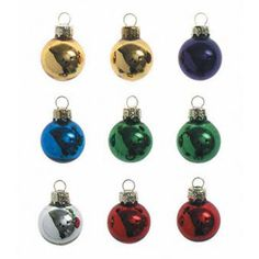Glass Ball Ornaments - Metallic Assorted Colors - 25mm - 9 pieces