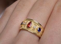 15%off SOLID GOLD RING Tourmaline Sapphire & Diamond Stones