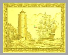 "3D model in STL format, panel ""Ship near the lighthouse"" for CNC milling machine, model for Artcam Aspire."