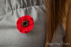 """Small Poppy flower applique - at 1.2""""/3cm in diameter, this flower is perfect for a hair accessory, or a brooch."""