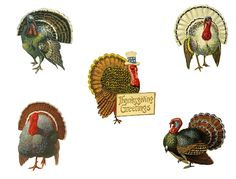 Fall Spool Craft: Vintage Thanksgiving Turkeys - includes this free printable!
