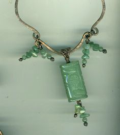 Carved Jade  & Copper Pendant