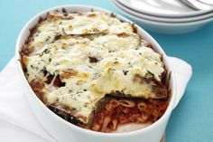 Finish this eggplant-packed pasta bake under the grill to melt the mozzarella cheese topping.