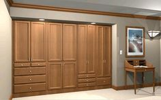 A wardrobe wall uses the same space as a reach-in closet and eliminates the blind or awkward spaces.
