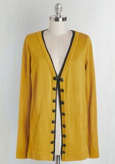 Style Theorist Cardigan. If anyone has grounds to call this mustard-yellow cardigan fashionable, its you! #yellow #modcloth