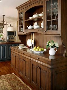 Choose from several options for glass-front cabinets. Dinning Room Cabinet, Kitchen Wall Cabinets, Kitchen Cabinet Colors, Dining Room Buffet, Kitchen Decor, Kitchen Interior, Kitchen Cabinets Color Combination, Crockery Cabinet, Kitchen Cupboard Designs