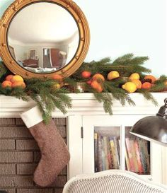 Natural Christmas Decor -  evergreen branches and citrus fruits garland  for fireplace mantel decorating