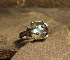 Frog princess ring comission. Silver and Labradorite by Roche Designs