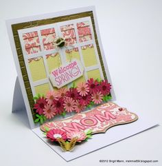 """Using the Mom Card in the MOTHER'S GARDEN SVG KIT, Brigit turned it into an easel adding more elements from the kit.  The """"Bunnies and Blossoms"""" Stamp is now being  sold at Unity Stamps here: http://unitystampco.com/product-category/svgcuts-coming-soon/"""