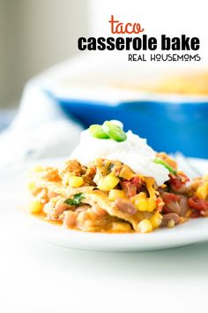 Casseroles don't have to be soggy and boring. This TACO CASSEROLE BAKE is easy to put together, can be made ahead of time, and is completely customize-able!