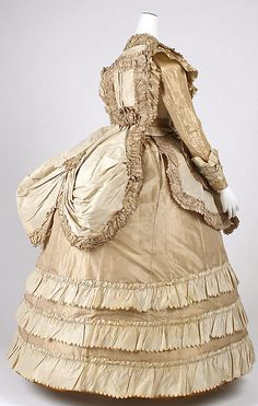 Silk Afternoon dress, late 1860s, American.