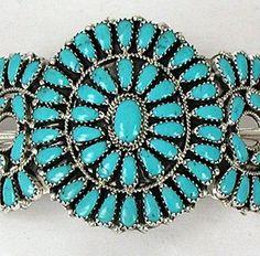 Native American Navajo petit point turquoise hair stick barrette
